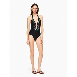 Kate Spade Marina Embroidered Halter One Piece